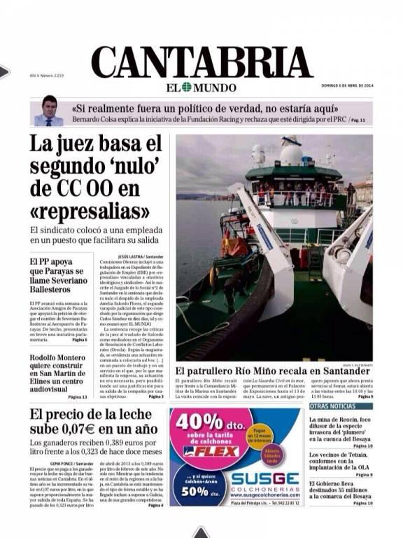 Portada El Mundo Cantabria (06/04/14)