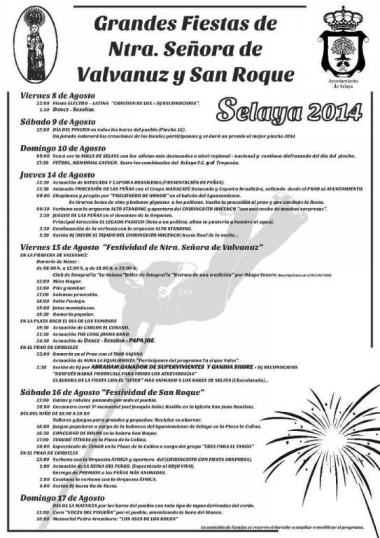 CARTEL FIESTA DE NTRA. SEÑORA DE VALVANUZ Y SAN ROQUE (SELAYA)