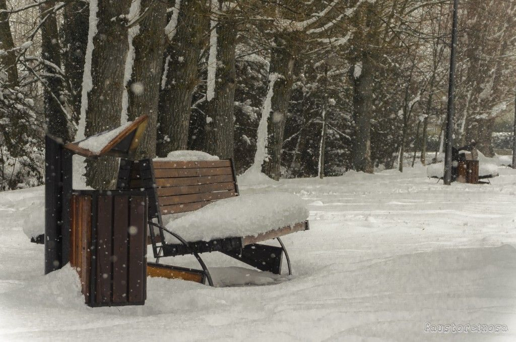 Imagen tomada en Reinosa mientras la nieve cae, cae y cae...