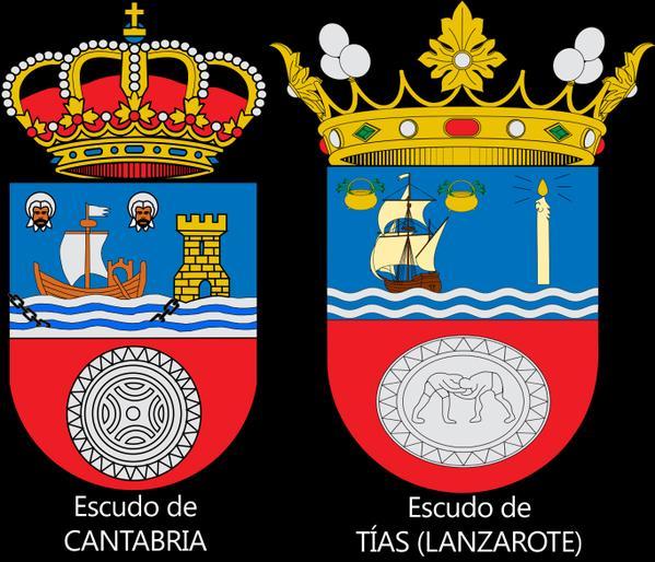 Escudo de Cantabria y el escudo de Tías (Bruno Cendón)