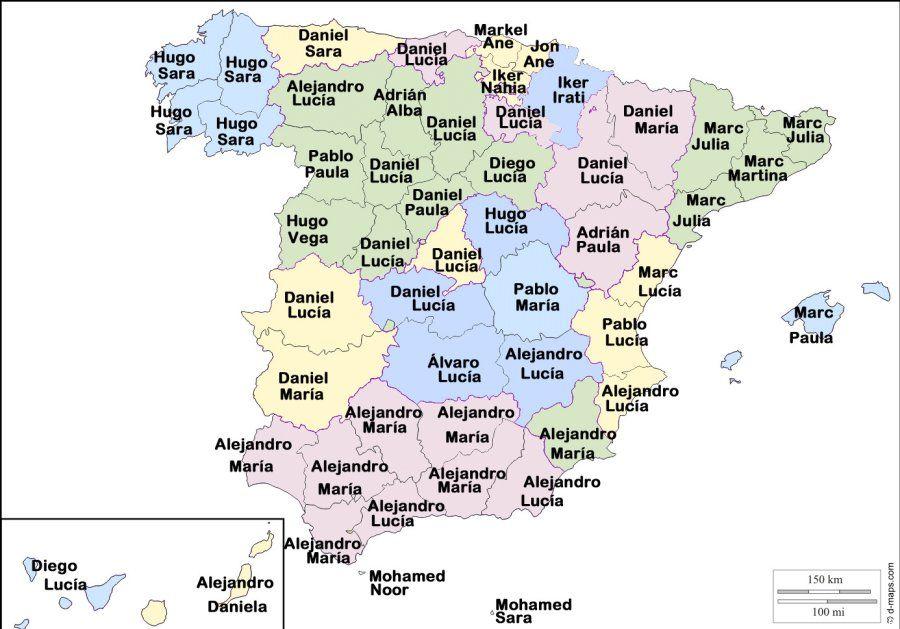 Mapa nombres España