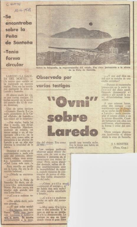 Avistamiento OVNI en Laredo (Cantabria) - La Gaceta del Norte del día 18 de abril de 1978