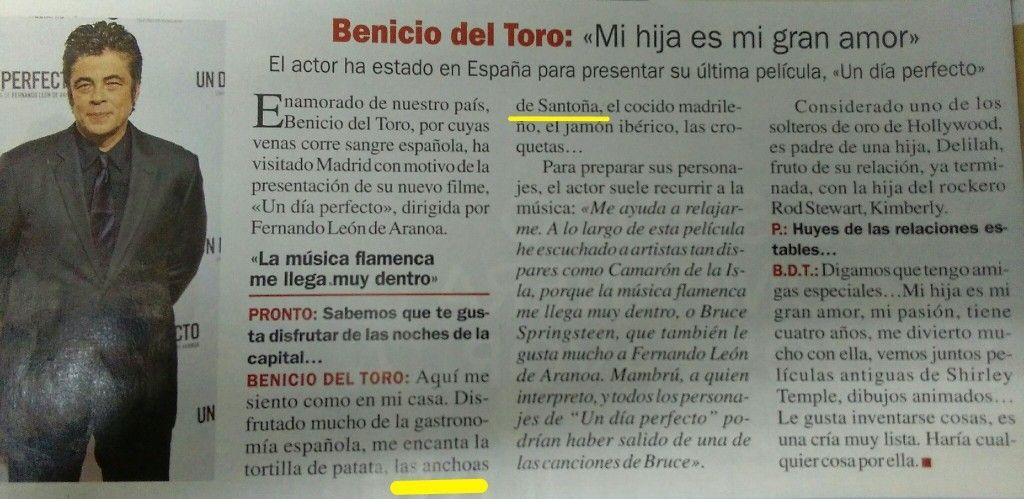 Benicio del Toro - Un amante de gastronomía española