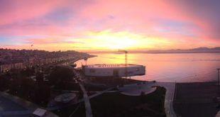 Amanecer rosa en la Bahía de Santander vía @VrgFotografia