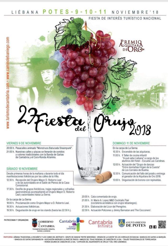 Cartel Fiesta del Orujo 2018 - Potes (Cantabria)