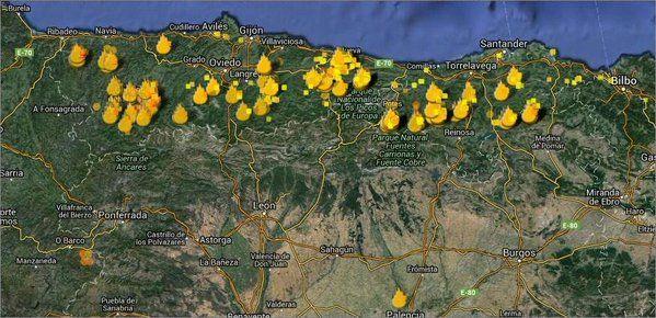 Focos activos en Asturias y Cantabria