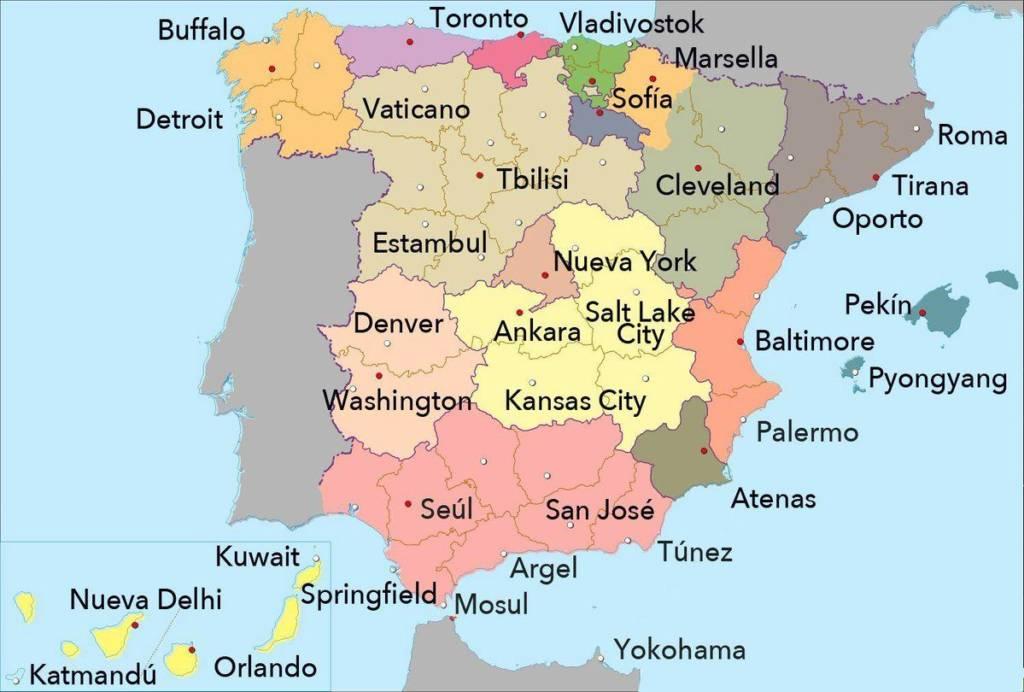 Mapa España: Ciudades extranjeras a la misma latitud