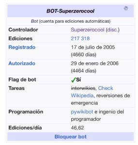 Bot autor del troleo en Wikipedia a Miguel Torres