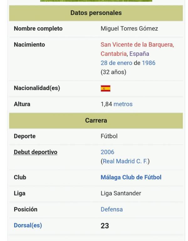 Troleo en Wikipedia a Miguel Torres