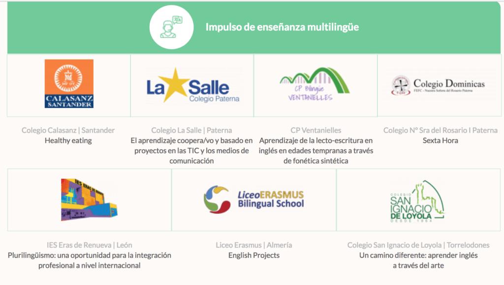 Finalistas categoría Impulso Enseñanza Multilingüe de los Premios Innovación Educativa