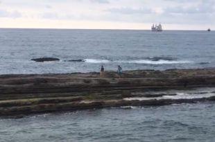 Atrapados en la playa de la Concha (Santander)
