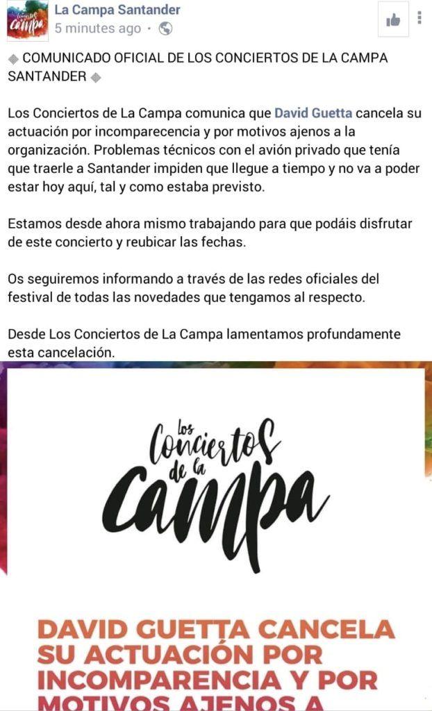 Comunicado de La Campa sobre la cancelación de la actuación de David Guetta en Santander