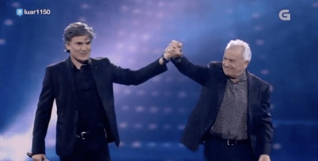 Nando Agüeros y Victor Manuelen la Televisión Gallega