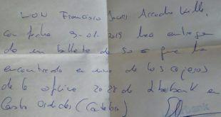 UN VECINO DE CASTRO URDIALES ENCUENTRA UN BILLETE EN UN CAJERO Y BUSCA A SU DUEÑO