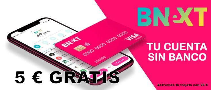 5 euros gratis tarjeta prepago bnext