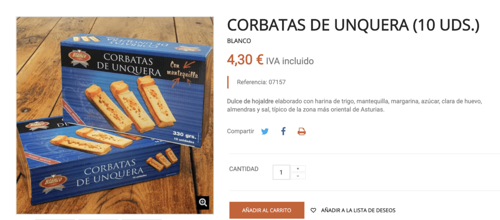 Web de productos de Asturias