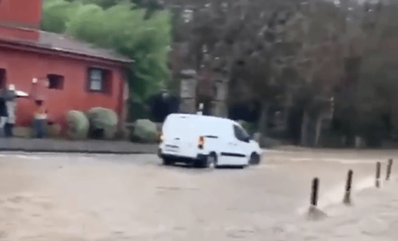 Comillas durante las inundaciones en Cantabria