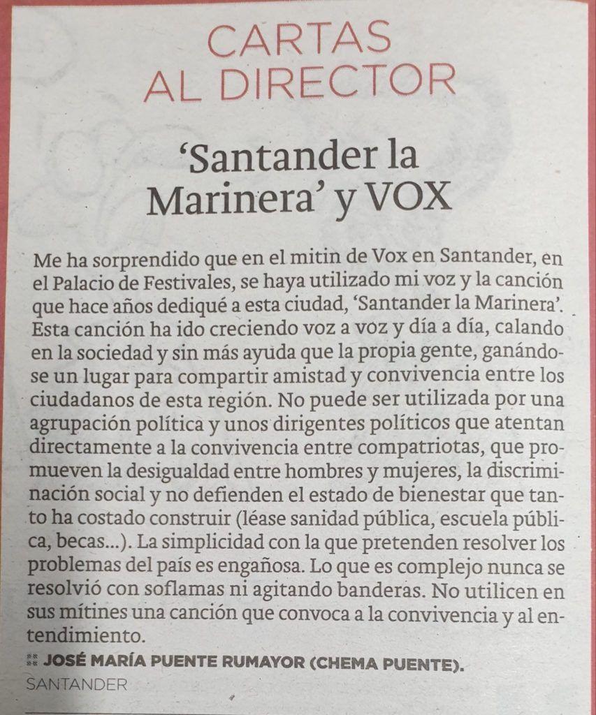LA RESPUESTA DE CHEMA PUENTE A VOX POR EL USO DE SANTANDER LA MARINA - DM