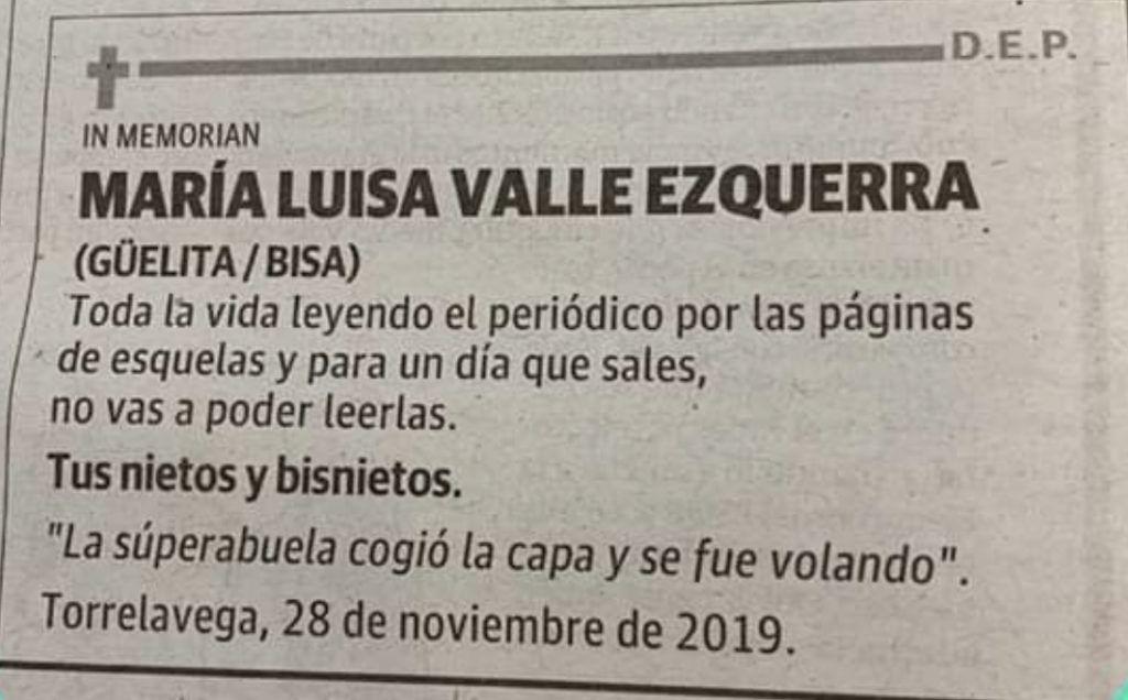 La esquela de una abuela de Cantabria se convierte en viral