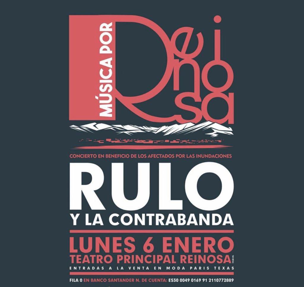 Cartel concierto Rulo en beneficio de los afectados por las inundaciones de Reinosa