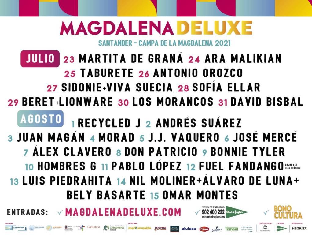 Cartel Magdalena Deluxe - Conciertos de la Semana Grande de Santander 2021